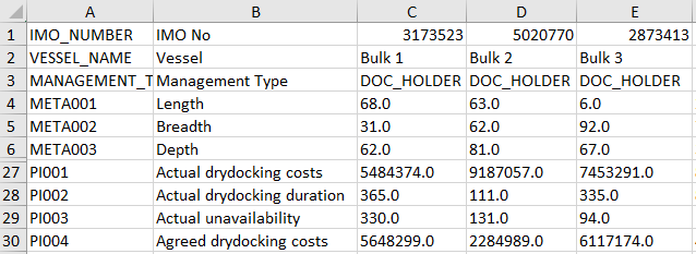 import one column per ship